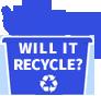 Will It Recycle? - Blue Recycle Bin Clip Art